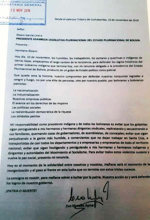 Carta de renuncia de Evo Morales, 10 de noviembre de 2019