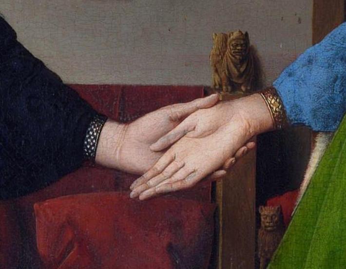 'Retrato de Giovanni Arnolfini y su Esposa',  del pintor flamengo Jan van Eyck, 1434, Galería Nacional, Londres