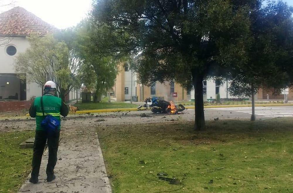 El local de la explosión en la Escuela de Cadetes de la Policía General Santander