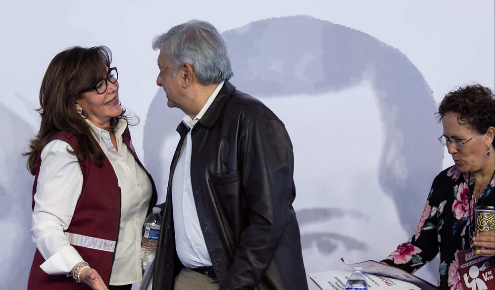 Yeidckol Polevnsky y el presidente López Obrador