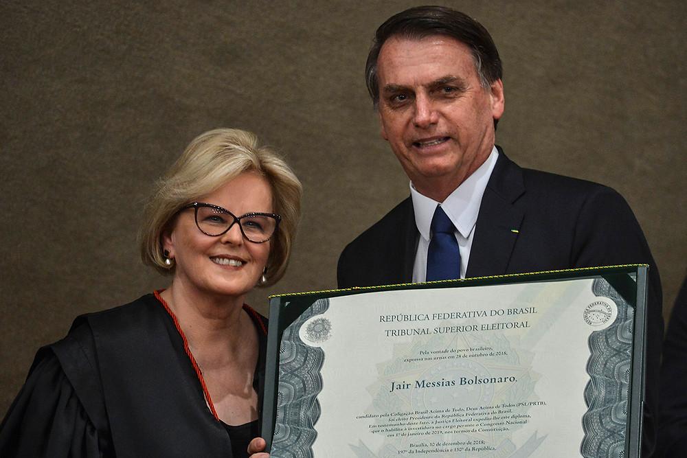Rosa Weber e Bolsonaro na diplomação do presidente eleito