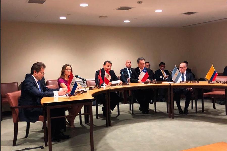 El momento en que los cancilleres de 6 países anuncian en New York que denunciarán a Maduro ante la Corte de La Haya