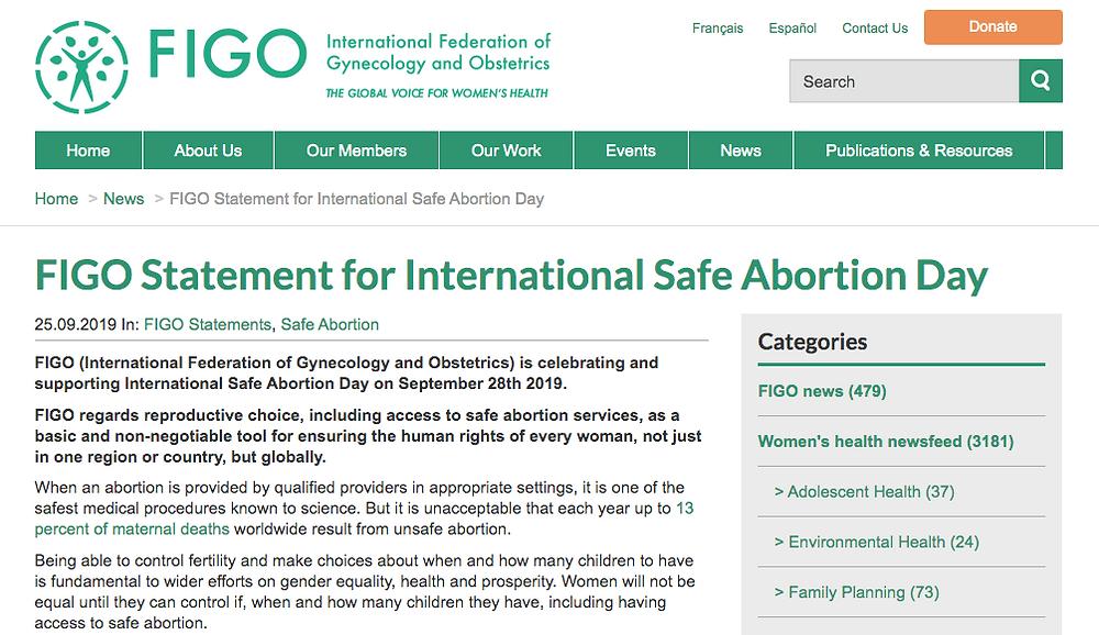 Foto de la Publicación del apoyo de la FIGO al 'Dia Internacional del Aborto Seguro'