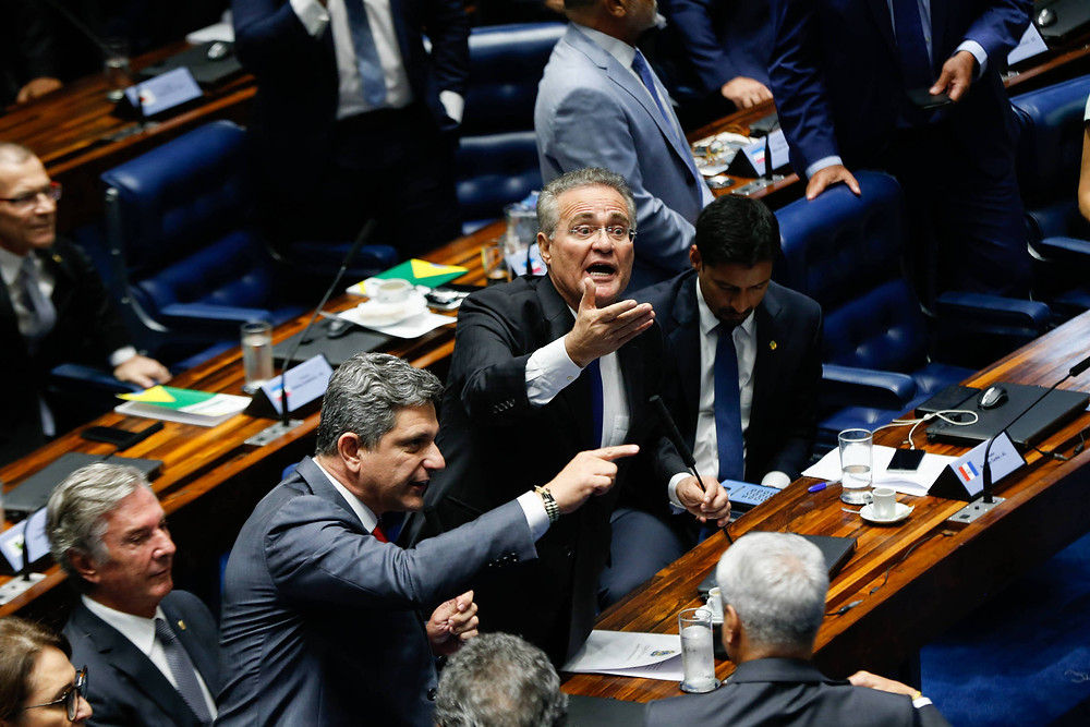 O senador Renan Calheiros no dia da votação para o novo presidente da Câmara Alta