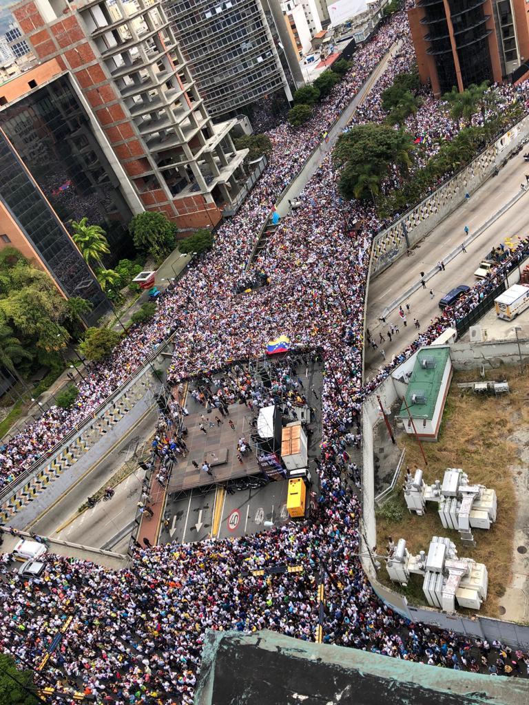 Caracas, 23 de enero, una de las manifestaciones contra el dictador Maduro