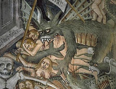 Afresco do Julgamento dos Condenados, fragmento; Giovanni Canavesio, Santuario de Notre Dame des Fontaines, La Brigue, Francia; 1492-1530.