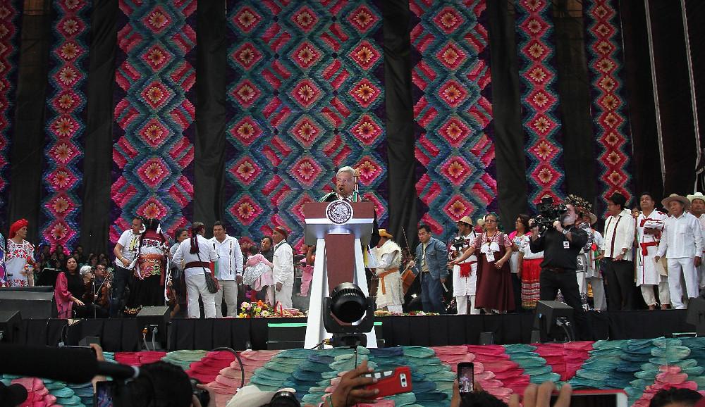 Manuel Andrés López Obrador en el Zócalo de la Ciudad de México, 1 de diciembre de 2018
