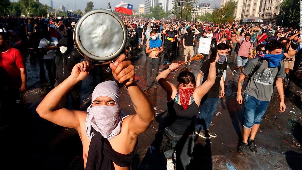 Manifestación en Chile, en octubre de 2019