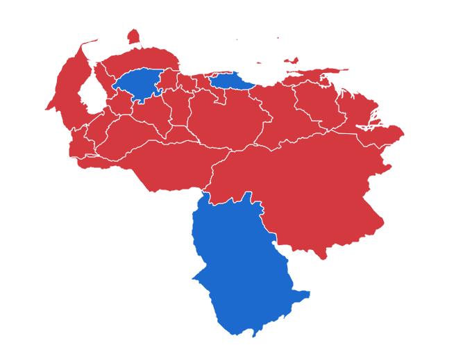 Estados bajo dominio oficialista (en rojo) y bajo control de la oposición (azul)