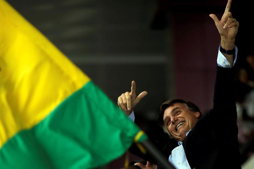 O presidente Jair Bolsonaro na eleição de outubro de 2018