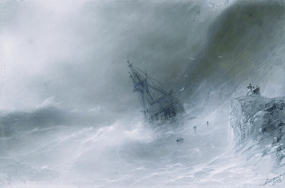Shipwreck, Ivan Aivazovsky, 1856