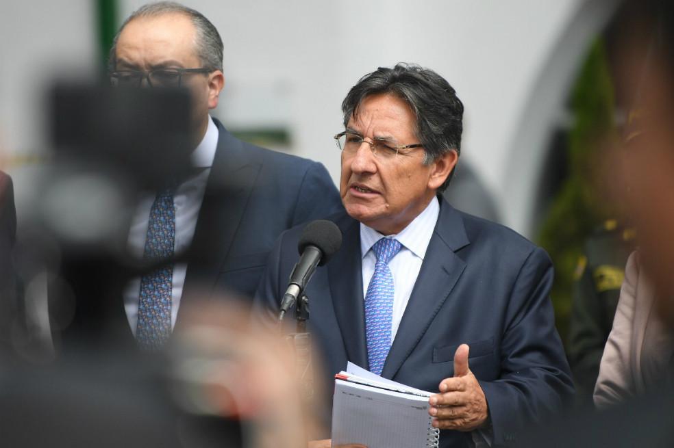 El fiscal general Néstor Humberto Martínez en una rueda de prensa, Bogotá, 17 de enero de 2019
