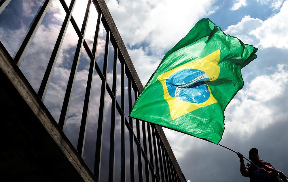Manifestante a favor del impeachment de Dilma Rousseff, en Brasilia, 2015