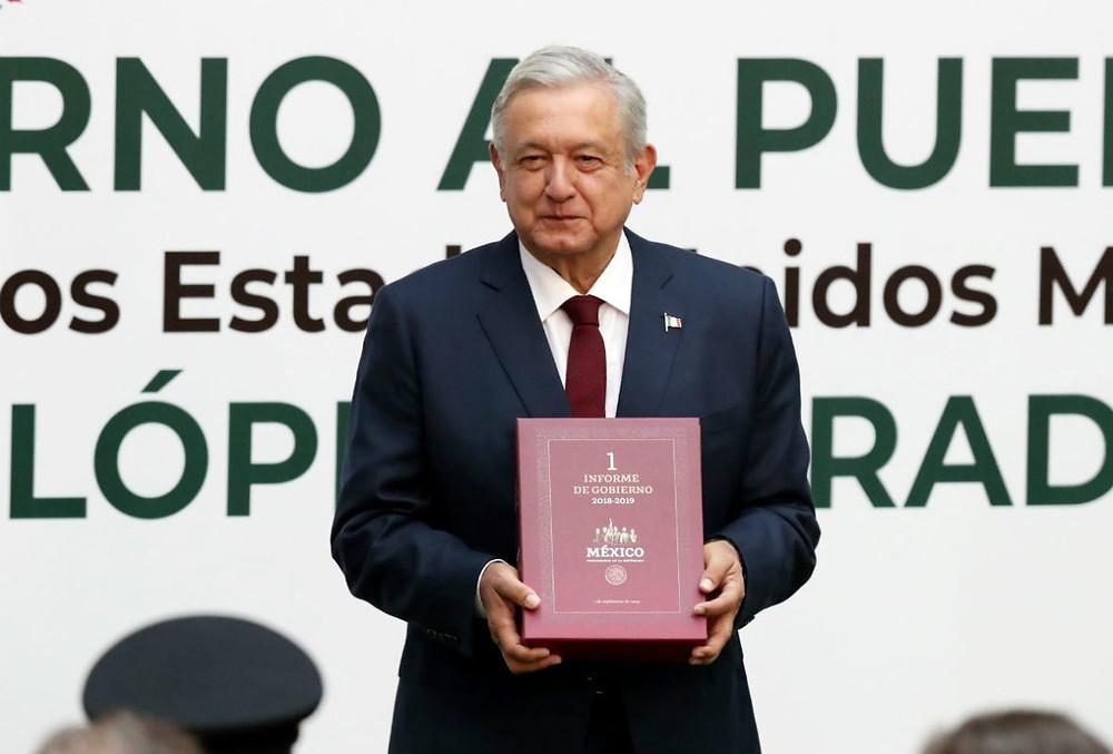 El presidente López Obrador presenta su primer informe de Gobierno
