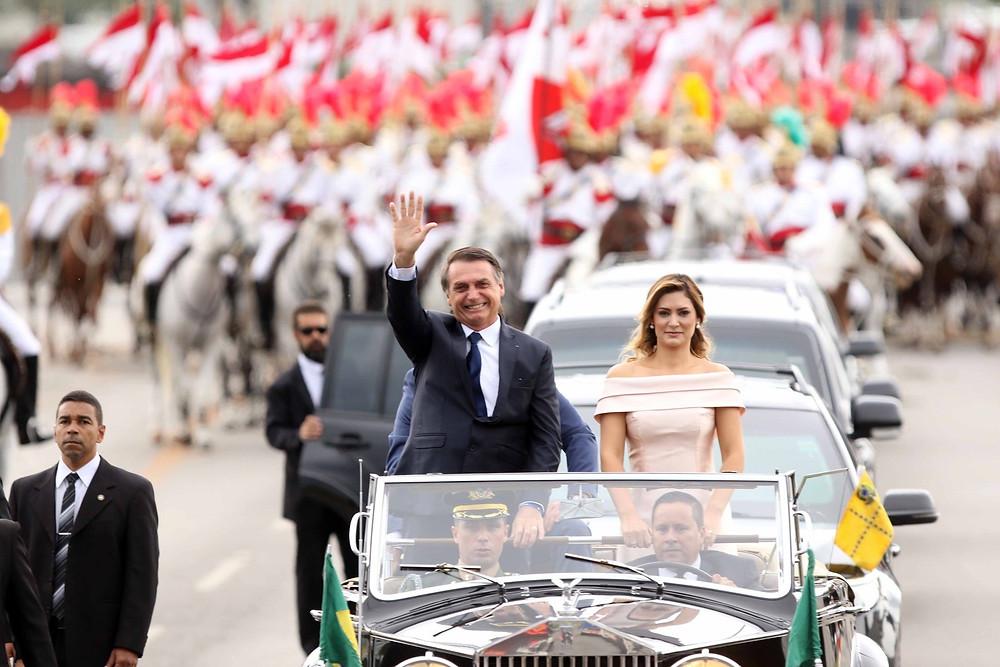 O presidente Bolsonaro e sua esposa, no dia da sua investidura presidencial, 1 de janeiro de 2019