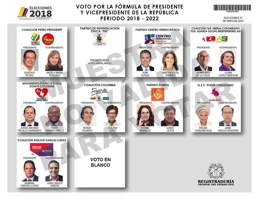 Boleta para la elección presidencial 27 mayo 2018