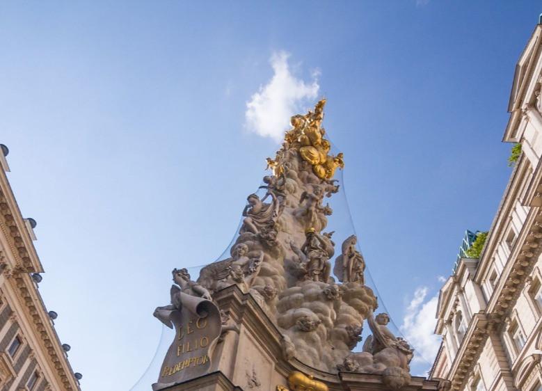 Detalhe do monumento 'Pestsäule', em Graben, Viena, coluna comemorativa do fim da peste que atacou a cidade no final do século XVII