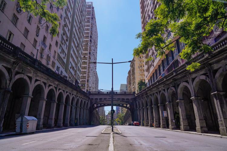 O centro de Porto Alegre vazio, foto de Cesar Lopes, 24 de marco de 2020