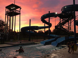First nighttime swim of #championskidscamp 2016! #camp #pools #waterslides #sunsets #texas