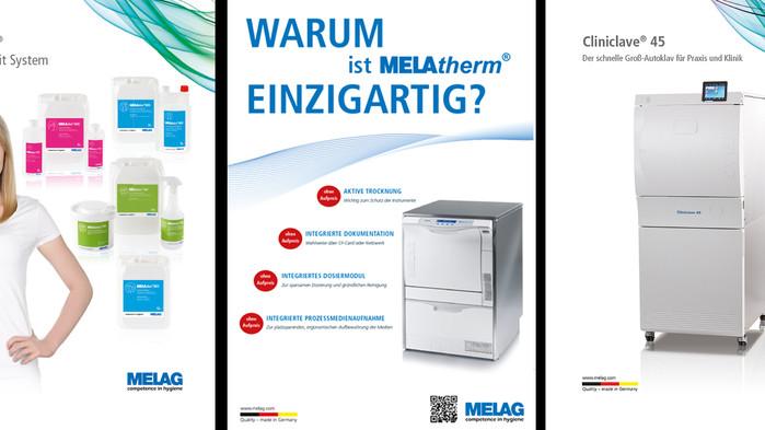 MELAG Medizintechnik Berlin // Anzeigendesign // Broschüren & Produktblätter // Etikettendesign