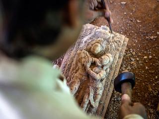 Making of stone panels of Lingaraj Temple, Bhubaneswar