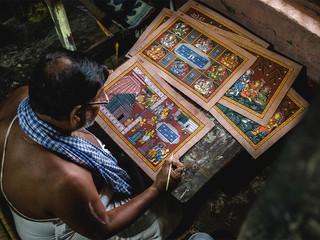 Making of pattachitra painting depicting Shiv Leela