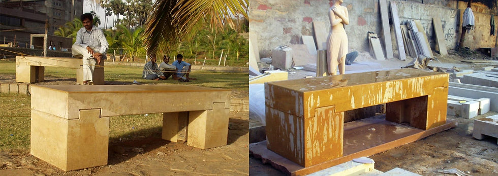 Outdoor furnitures, signagen and logo design for the Lands End, Mumbai