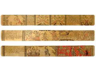 Palm leaf engraving showing stories of Gita Govind