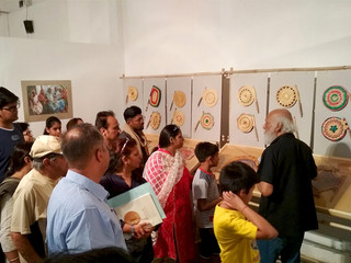 Collector's guided tour at Pankha exhibition, IGNCA, 2018