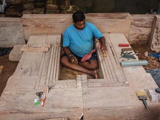 Making of the stone panel of the Bhogamandapa, Jagannath Temple, Puri