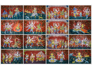 Pattachitra painting depicting Shiv Leela