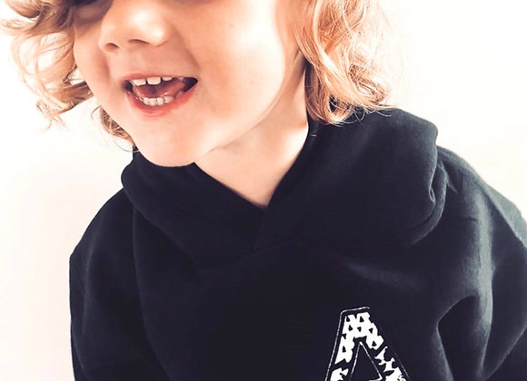 Embroidered monochrome initial hooded sweat