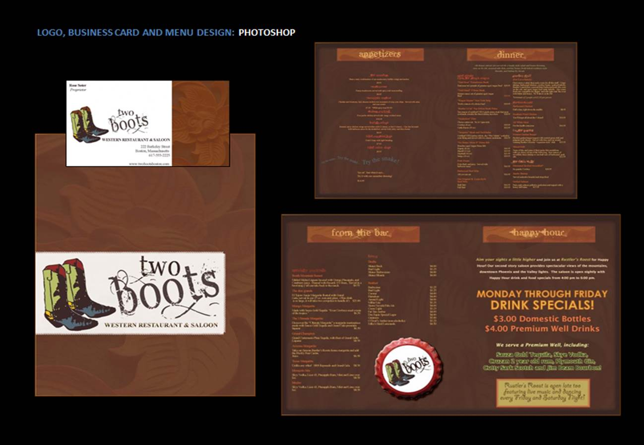 Two Boots Menu Design