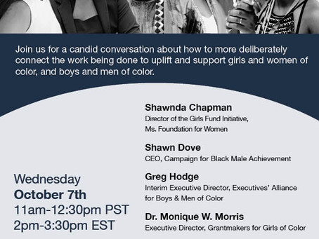 JOIN US! Webinar on uplifting girls + women of color and more