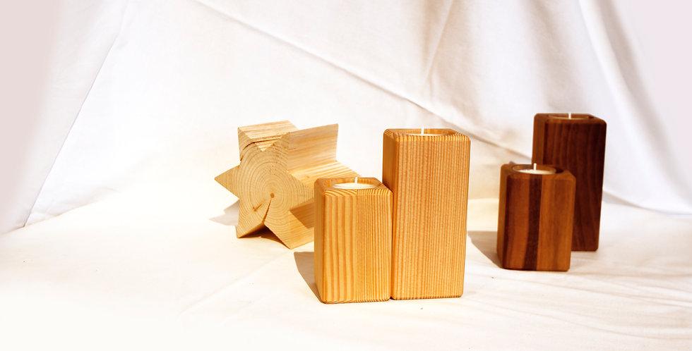 Teelichthalter, 2er-Set, Lärche