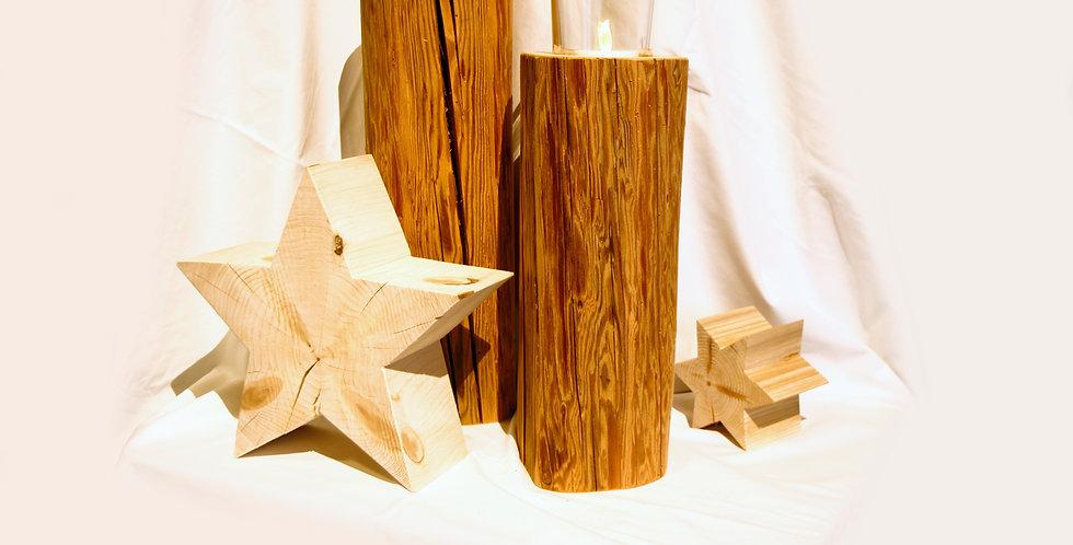 Holzbalken, klein mit großem Teelicht