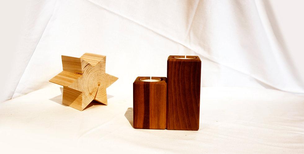 Teelichthalter, 2er-Set, Nussbaum