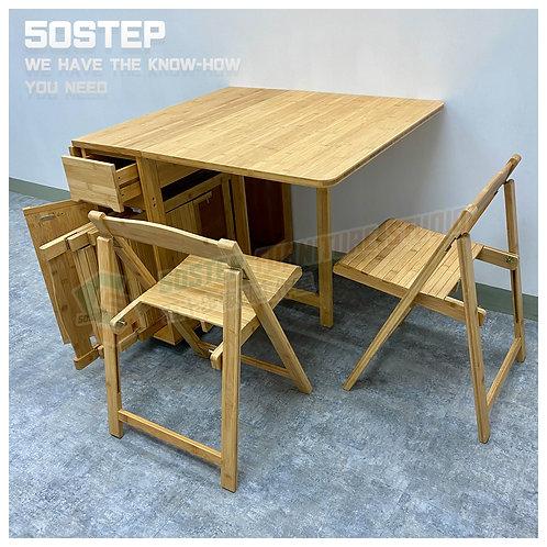 全新活動蝴蝶檯/連摺椅 Brand New gateleg table/w folding chairs, bamboo