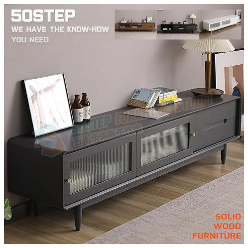 全新進口實木玻璃趟門電視櫃 Brand New solid wood TV cabinet, glass