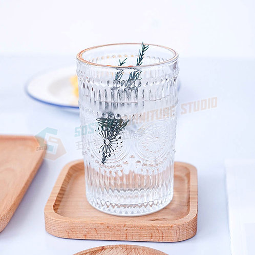#現貨 太陽花雕刻玻璃杯 Glass