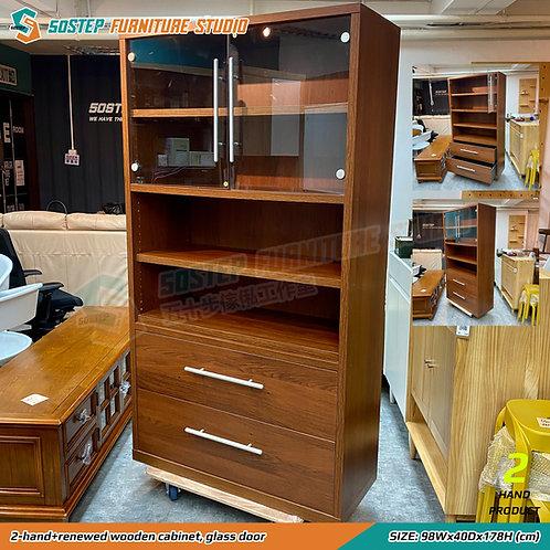 已翻新二手高身玻璃展示櫃  2-hand+renewed wooden cabinet, glass door