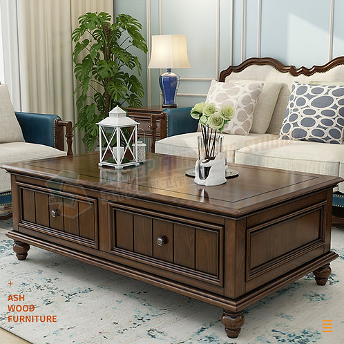 全新進口白蠟木美式儲物茶几 Brand New solid wood Coffee table, ash wood