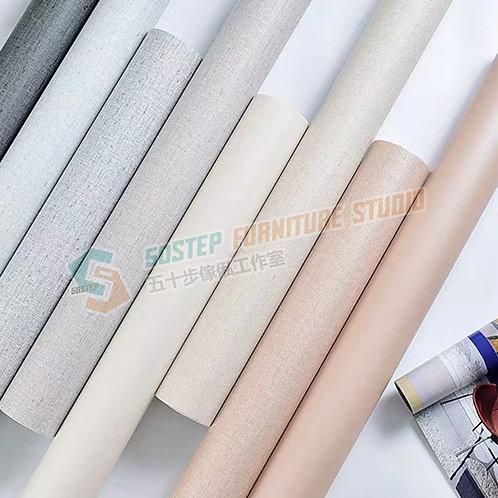 免運費防水加厚純色布紋即貼牆紙 Free delivery PVC fabric grain wallpaper