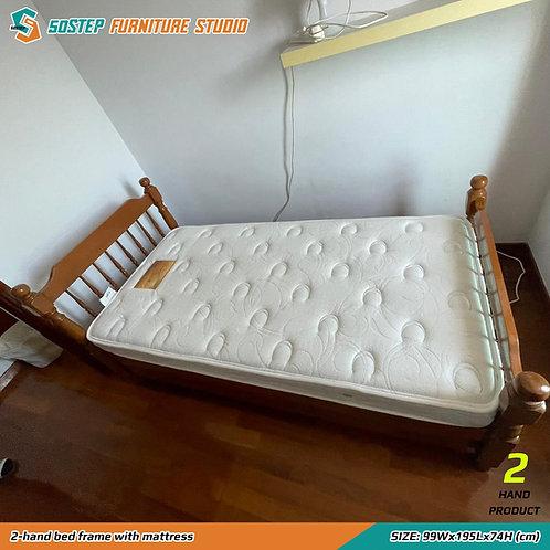 二手單人床架連床褥 2-hand bed frame with mattress