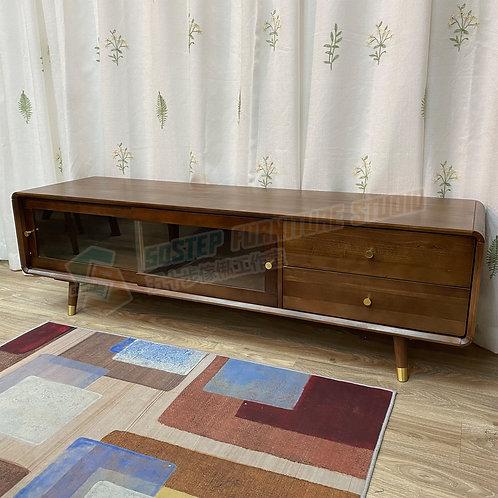 全新進口實木清玻璃趟門電視櫃 Brand New solid wood TV cabinet