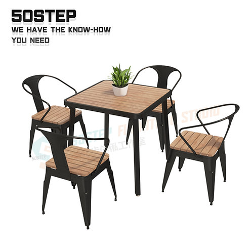 全新可訂造焊接方形戶外餐檯/連餐椅 Brand New solid wood outdoor table/w chairs
