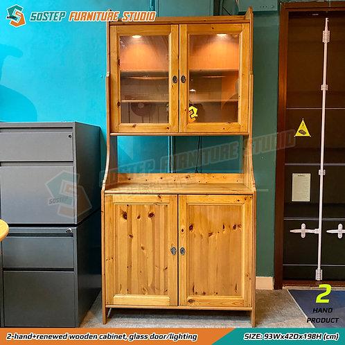 已翻新二手實木有燈餐邊櫃 2-hand+renewed wooden cabinet, glass door/lighting