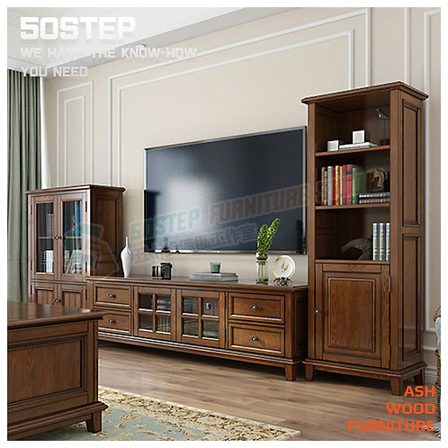 全新進口白蠟木美式復古玻璃酒櫃書櫃 Brand New solid wood display cabinet