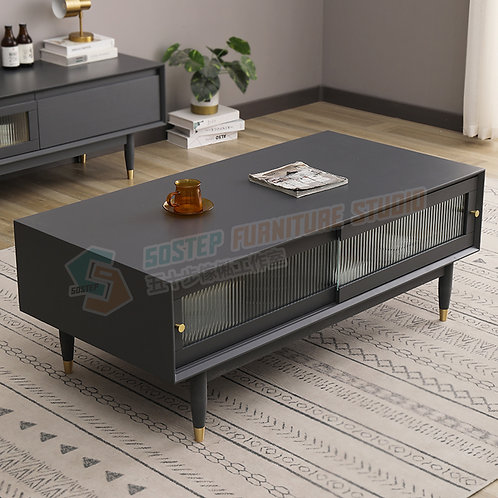 全新進口實木玻璃趟門儲物茶几 Brand New solid wood Coffee table, glass