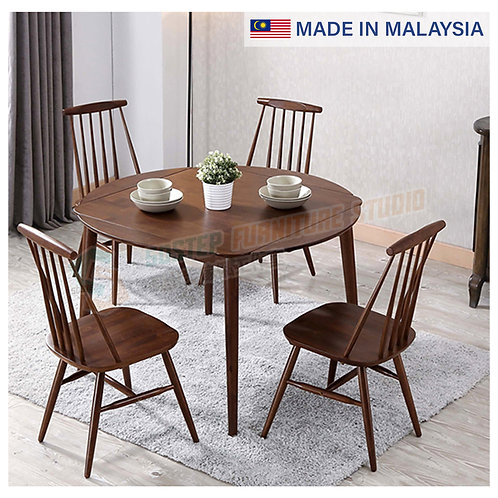 全新馬來西亞製造摺疊圓餐檯/連餐椅 Brand New solid wood dinning table/w chairs, made in Malaysia